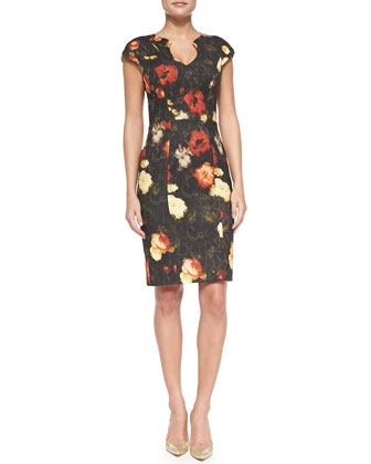 Stefan Rembrandt Rose-Print Sheath Dress