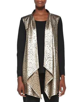 Laser-Cut Faux-Leather & Ponte Jacket, Women's