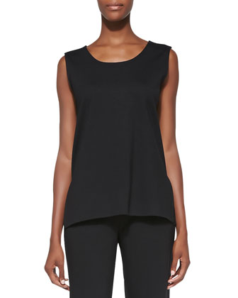 Ponte Knit Longer Tank, Black, Women's