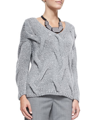 V-Neck Cashmere-Blend Cable Sweater