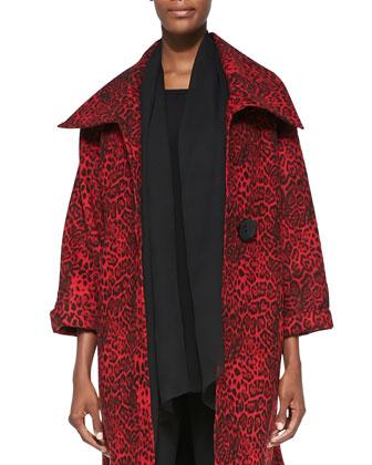 Silk Chiffon Scarf, Leopard-Print Felt Coat, Long-Sleeve Tunic & Ponte Slim ...