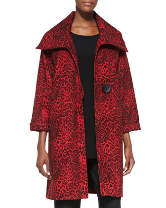 Leopard-Print Felt Coat, Women's, Red/Black