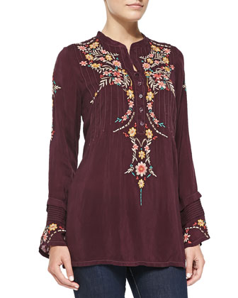 Boston Embroidered Long-Sleeve Tunic, Women's