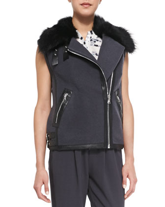 RW Shearling Fur Vest, Geo-Print Silk Sleeveless Henley & Knit Pull-On ...