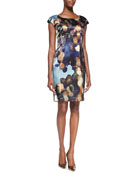 Gertrude Cap-Sleeve Printed Dress