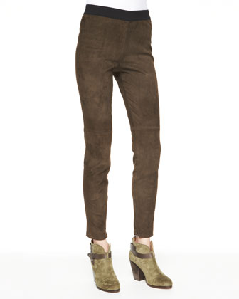 Cashmere Aurora Draped-Neck Sweater & Roxana Slim Stretch Leather Pants