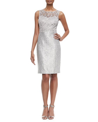 Sequined-Lace Jacket & Sequined Lace-Bodice Cocktail Dress