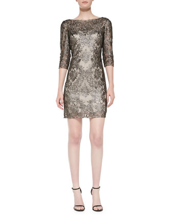 3/4-Sleeve Metallic Lace Overlay Cocktail Dress