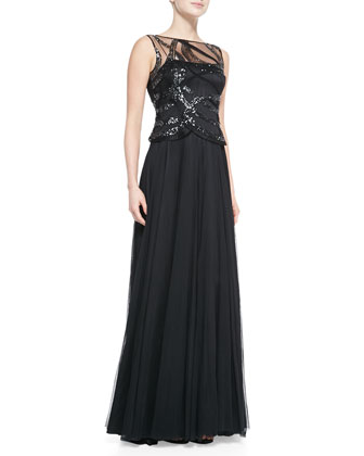 Sleeveless Sequined-Bodice Gown