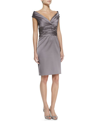Off-Shoulder Ruched-Bodice Cocktail Sheath Dress