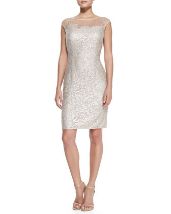 Cap-Sleeve Lace Overlay Cocktail Sheath Dress