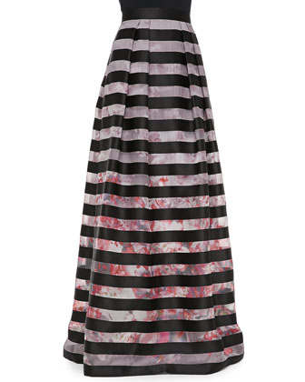 V-Back Cap-Sleeve Top & Floral-Print Striped Ball Skirt