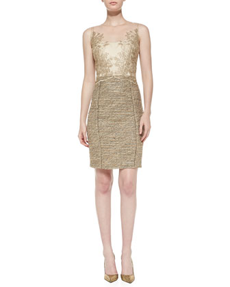 Sleeveless Tweed-Skirt Cocktail Dress