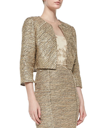 3/4-Sleeve Cropped Tweed Jacket & Sleeveless Tweed-Skirt Cocktail Dress