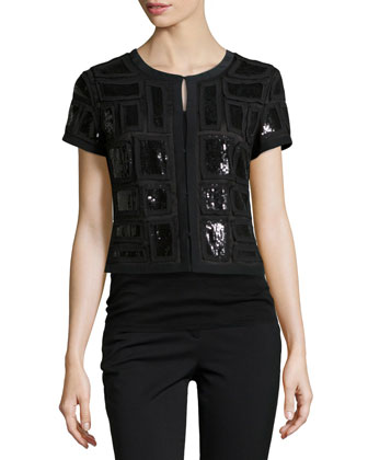 Ilsa Beaded Crop Jacket, Black