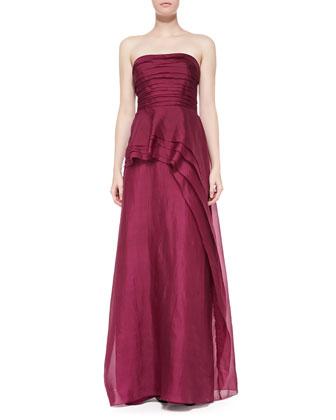 Strapless Asymmetric Peplum Gown