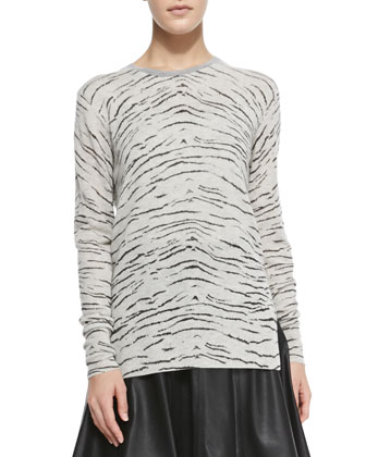 Knit Tiger-Print Long Pullover