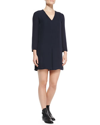 Trenta Double-Georgette Long-Sleeve Dress