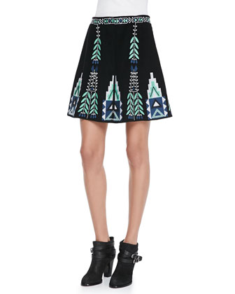 Chiara Tribal-Pattern Knit Sweater & Teresa Embroidered A-Line Skirt