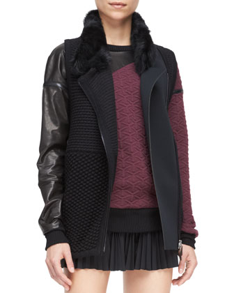 Shearling-Collar Knit Vest, Leather-Detail Quilted Sweatshirt & ...