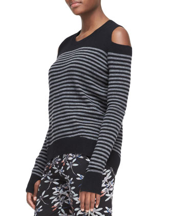 Cutout-Shoulder Striped Sweater