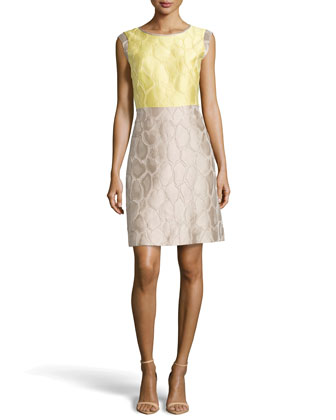Elle Colorblock Animal Jacquard Dress, Lemondrop/Khaki