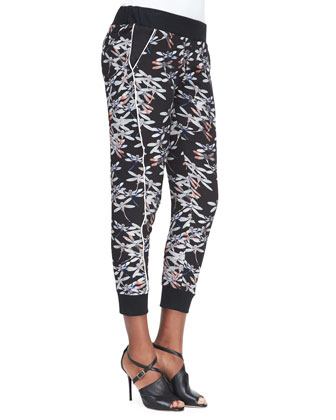 Printed Pull-On Satin Pants