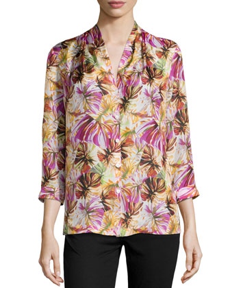 Niely Floral-Print Silk Blouse, Spectrum Multi