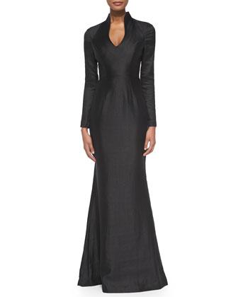 Shadon Portrait-Collar Crepe Gown