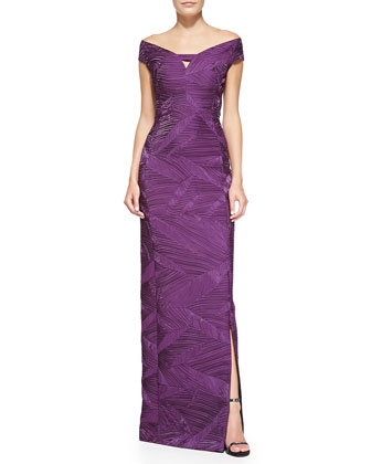 Harrow Pintucked Shimmery Satin Gown