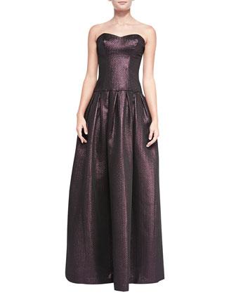 Aspen Drop-Waist Shimmery Brocade Gown
