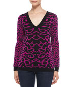 Animal-Print V-Neck Cashmere Sweater
