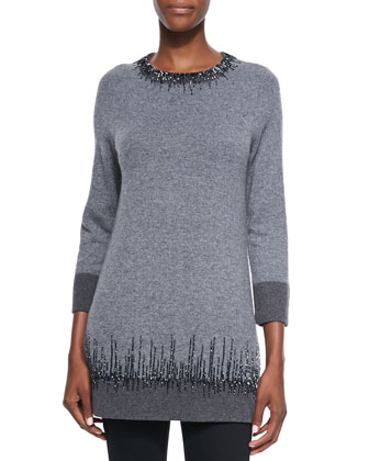 Long Cashmere Sweater with Beading Detail