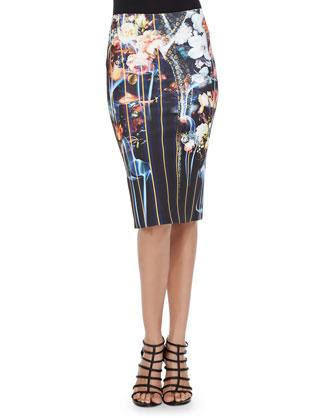 Combo Midi Pencil Skirt