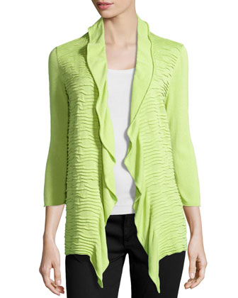 Draped Ruffle-Collar Cardigan, Cactus