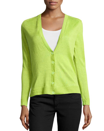 Linen V-Neck Cardigan, Appletini