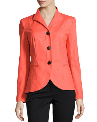 Allison Wing-Collar Jacket, Dayglow