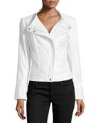 Shimmer Button-Tab Collar Jacket, Silver Metallic