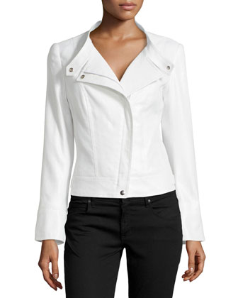 Shimmer Button-Tab Collar Jacket, Silver Metallic