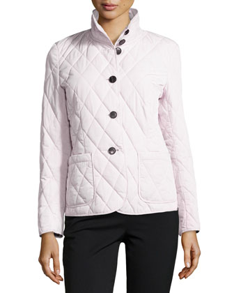 Quilted Stand-Collar Jacket, Pink Quartz