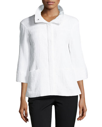 Emiline 3/4-Sleeve Voile Jacket, White
