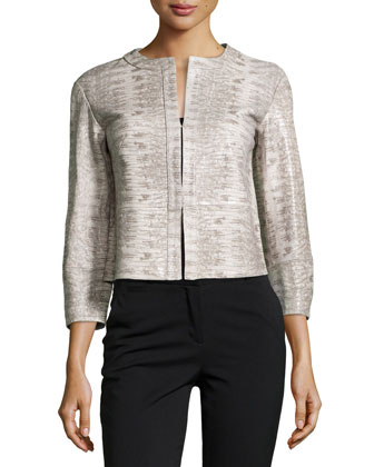 Bricen Snake-Print Leather Jacket, Shale