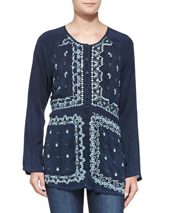 Frame Embroidered Georgette Blouse, Women's