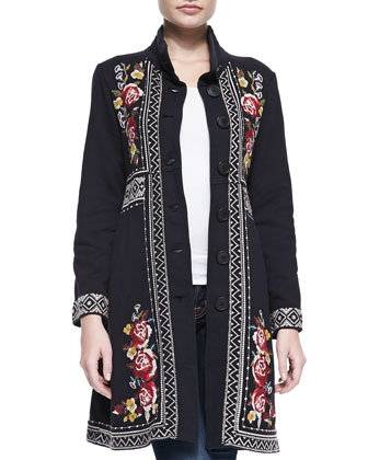 Joy Embroidered Military Coat, Women's