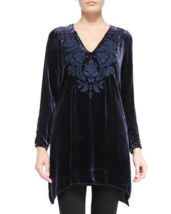 Holland Embroidered Velvet Tunic, Women's