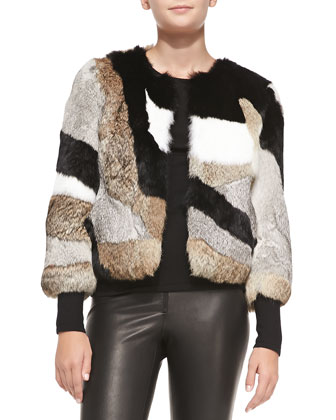 Patchwork Rabbit Fur Jacket