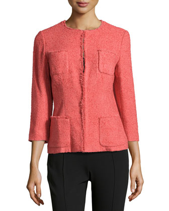 Fringe-Trim Boucle Jacket, Rosewater