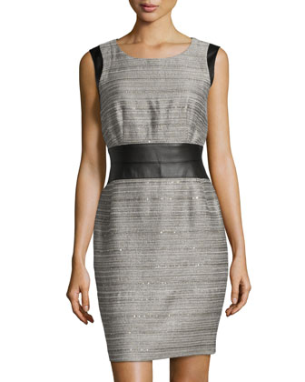 Sleeveless Sequined Tweed Dress, Raffia Multi
