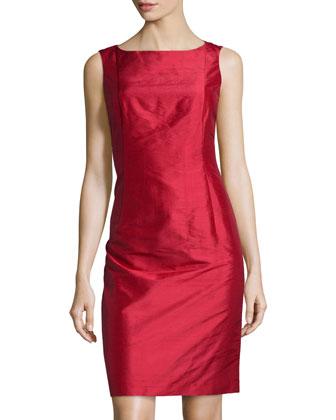Faith Sleeveless Silk Dress, Poppy