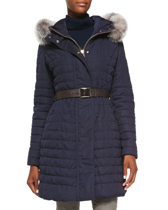 Apres-Ski Fur-Trim Belted Jacket